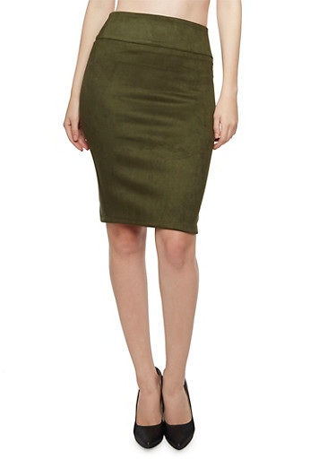 Faux Brushed Suede Pencil Skirt,OLIVE,large