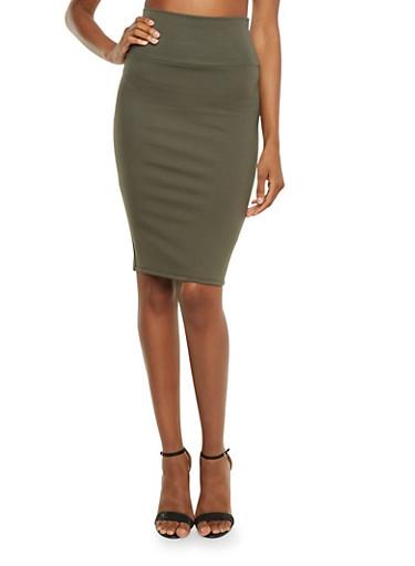 Ponte-Knit Pencil Skirt,OLIVE,large