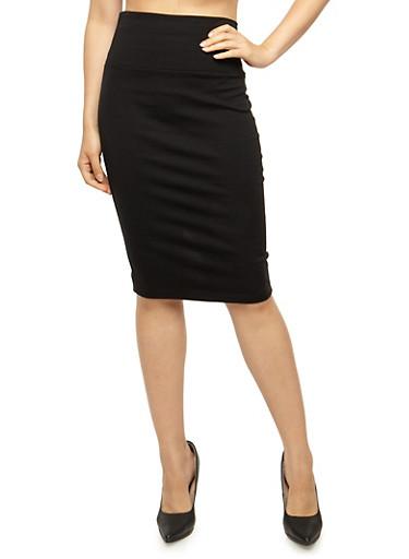 Solid Pencil Skirt with Back Slit,BLACK,large