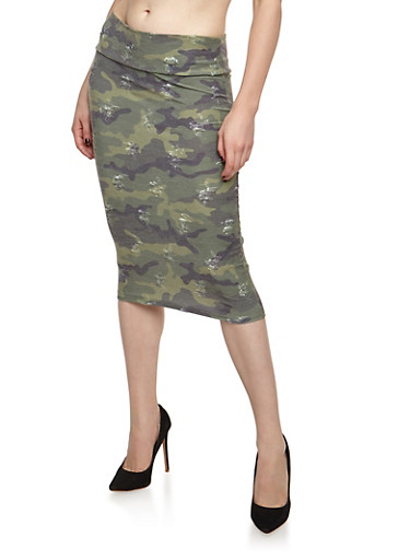 Distressed Camo Midi Skirt,OLIVE,large