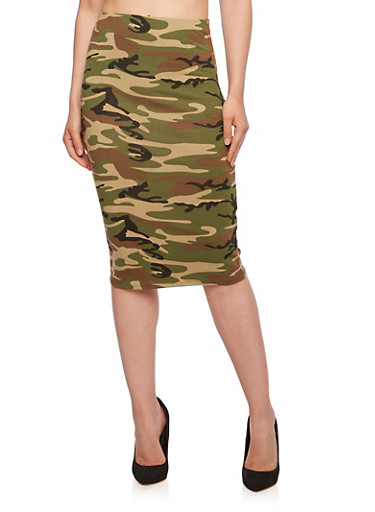 Bodycon Skirt in Camo Print,OLIVE,large