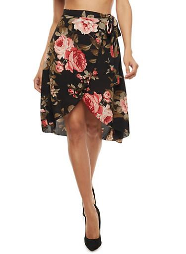 Crepe Knit Floral Wrap Skirt,BLACK,large