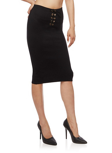 Ponte Knit Lace Up Pencil Skirt,BLACK,large