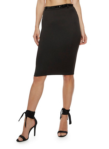 Solid Pencil Skirt with Belt,BLACK,large