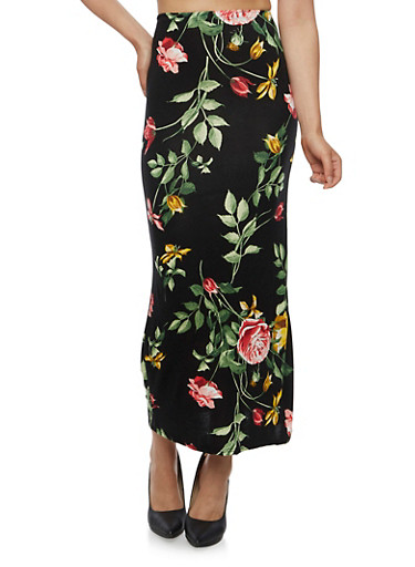 Floral Maxi Skirt,BLACK,large