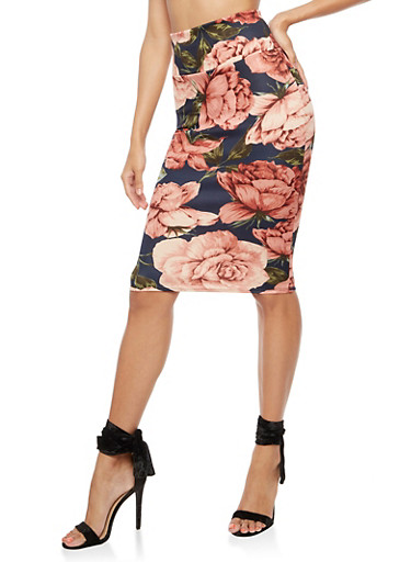 Floral Midi Pencil Skirt,NAVY/ROSE #40362,large