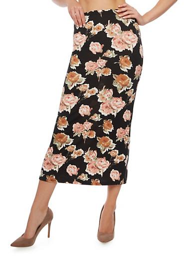 Floral Print Maxi Skirt,ROSE,large