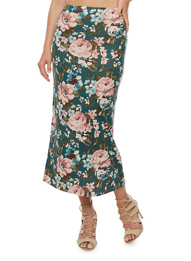 Floral Print Maxi Skirt,TEAL,large