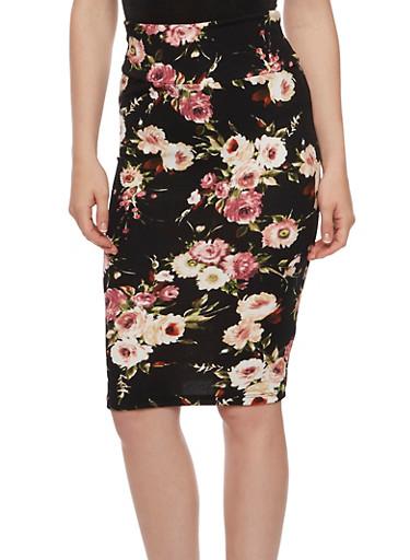 Floral Textured Knit Pencil Skirt,BLACK/MAUVE,large