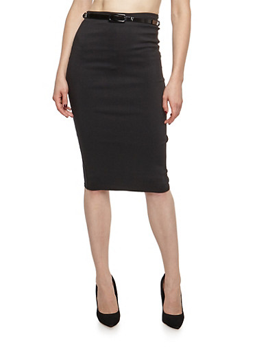 Solid Pencil Skirt with Belt,BLACK,large