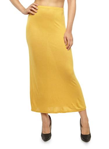 Solid Print Maxi Skirt,MUSTARD,large