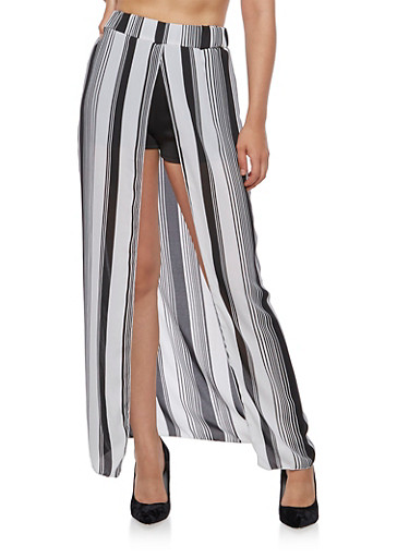 Striped Maxi Skirt with Shorts Underlay,BLACK/WHITE,large