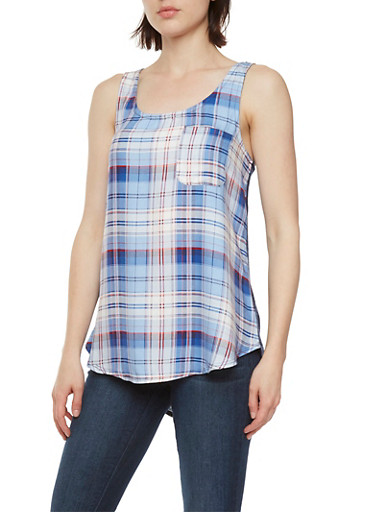 Almost Famous Plaid Tank Top with Open-Knit Back,NAVY COMBO,large
