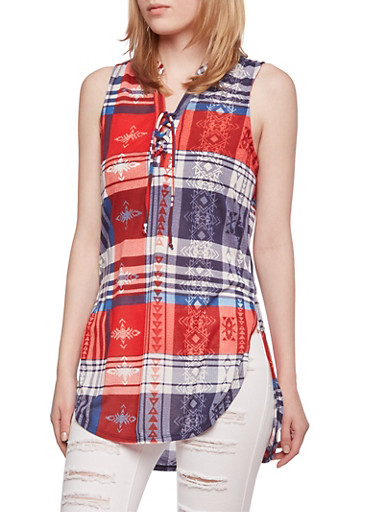 Almost Famous Plaid Lace-Up Tank Top,RED/DENIM COMBO,large