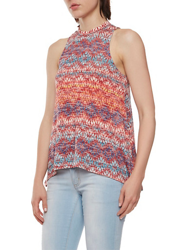 Almost Famous Sleeveless Knit Swing Top,WINE/MULTI,large