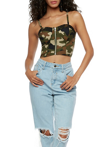 Camo Zip Front Bustier,OLIVE,large