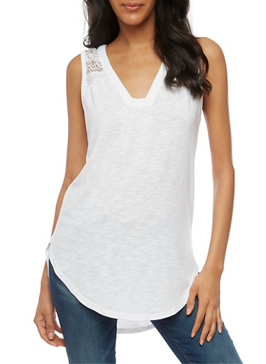 Sleeveless Lace Yoke Tunic Top,WHITE,large