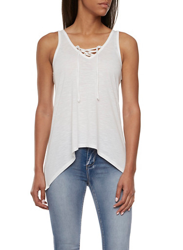 Almost Famous Tank Top with Lace Back Paneling,WHITE,large