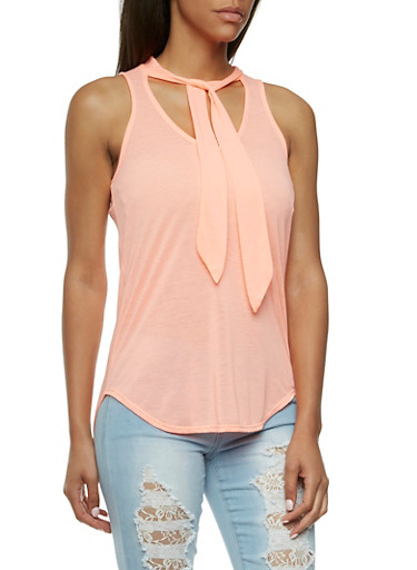 Almost Famous Tie Front Tank Top,CORAL,large