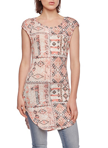 Almost Famous Aztec Print Tunic Top,CORAL,large