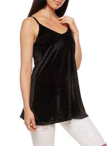 Velvet V Neck Tunic Cami,BLACK,large