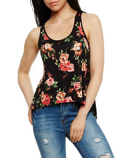 Floral Tank Top with Split Lace Back,BLACK,large
