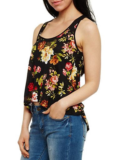 Floral Tank Top with Split Lace Back,BLACK,large