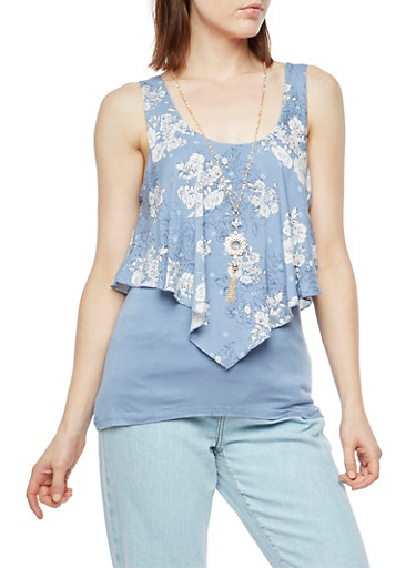 Floral Overlay Tank Top with Necklace,DENIM/WHT,large