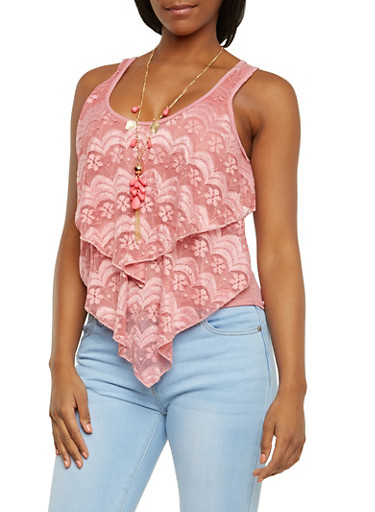 Tiered Lace Flutter Tank Top with Necklace,MAUVE,large