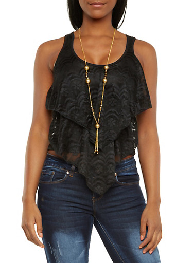 Crop Tank Top with Ruffled Lace Front and Necklace,BLACK,large