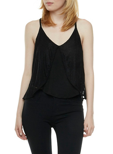 Crochet Overlay Trapeze Top with V-Neck,BLACK,large