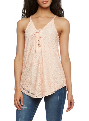 Lace Tank Top with Lace-up V-Neck,BLUSH,large