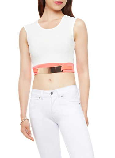 Sleeveless Textured Knit Crop Top with Metallic Belt Trim,IVORY/NEON CORAL,large