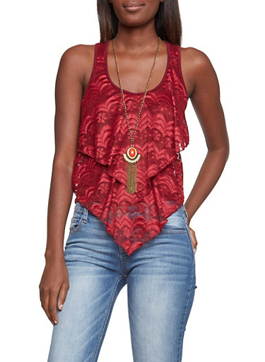 Tank Top with Lace Layers and Necklace,BURGUNDY,large