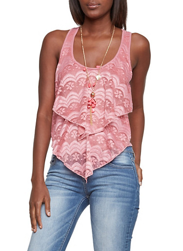 Tank Top with Lace Layers and Necklace,MAUVE,large