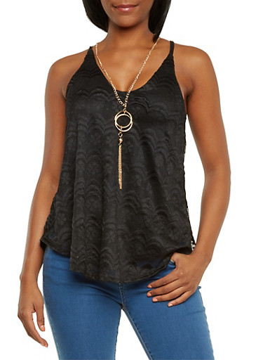 Lace Tank Top with Necklace,BLACK,large