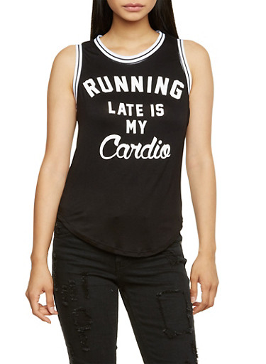 Tank Top with Running My Late is My Cardio Graphic,BLK/WHT/GOLD,large