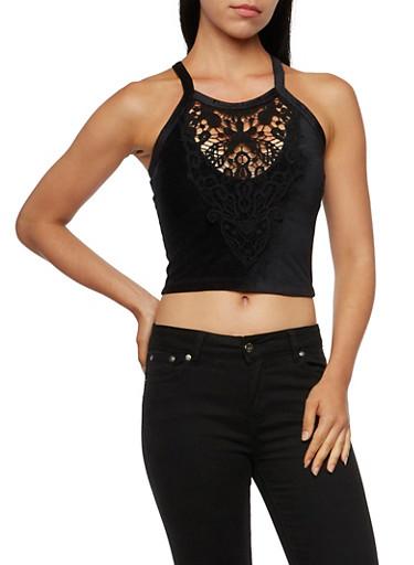 Velvet Crop Top with Crochet Detail,BLACK,large