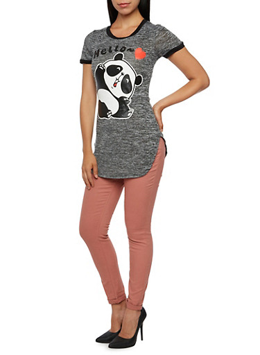 Tunic Top with Panda Graphic,BLACK,large