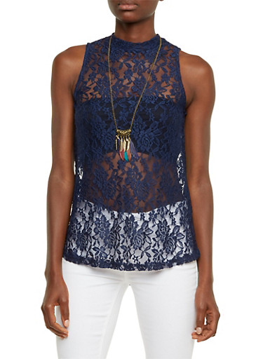 Sleeveless Lace Top with Feather Necklace,NAVY,large