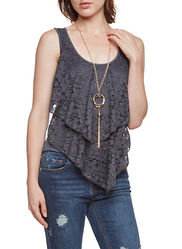 Tank Top with Lace Front and Necklace,CHARCOAL,large