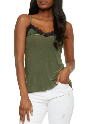 Satin Cami with Lace Trim,OLIVE,large