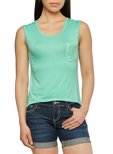High Low Tank Top with Lace Back,MINT,large