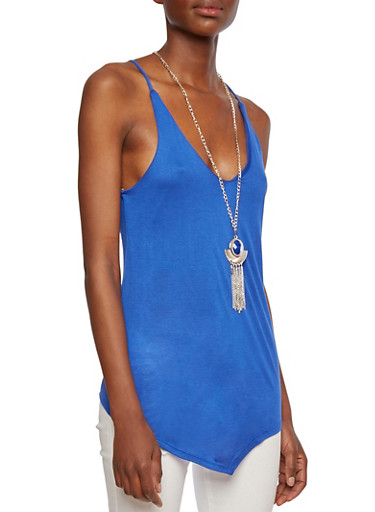 Tank Top with Adjustable Back Panel and Removable Pendant Necklace,RYL BLUE,large