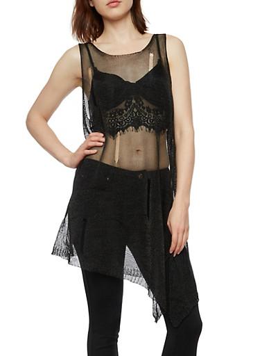 Shredded Chain Mesh Sleeveless Top,BLACK,large