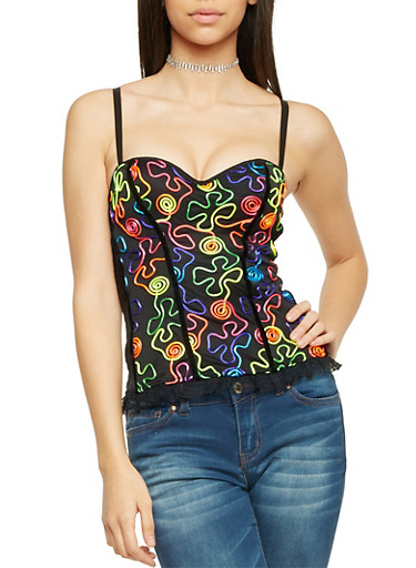 Bustier Top with Neon Embroidery,BLACK,large