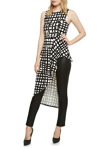Sleeveless Peplum Top with Asymmetrical Panel in Print,IVORY/BLK,large