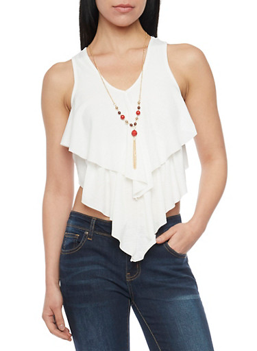 Tiered Crop Top with Lariat Necklace,WHITE,large