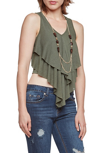 Tiered Crop Top with Lariat Necklace,OLIVE,large
