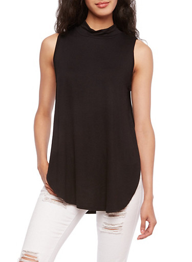 Sleeveless Mock Neck Top with Vented Sides,BLACK,large